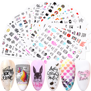 1pcs 3D Russian Letter Nail Sticker Cool Girl Flowers Leaf Lip Love Animals Slider Cartoon Nail Art Decoration Decal SACA608-653(China)