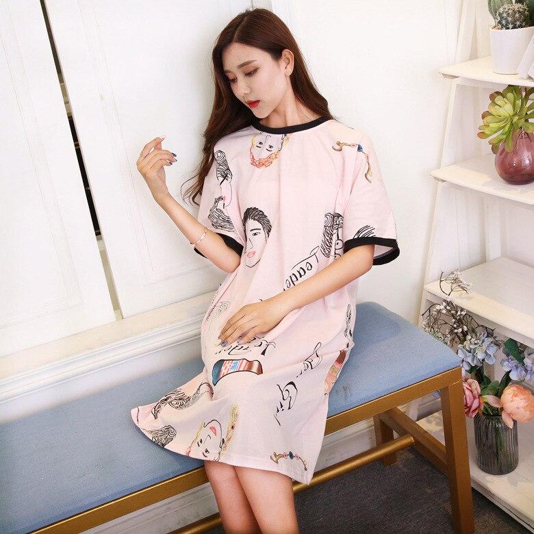 Short Sleeve Nightgown Female Summer Powder Head Skirt M-XXL (9.5 Yuan) Home-feeding Figure