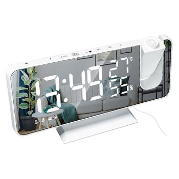 Cyfrowy budzik LED stół zegar zegarek elektroniczny zegary stołowe USB obudzić czasu radia FM żarówka jak funkcją drzemki 2 alarmy tanie i dobre opinie CN (pochodzenie) GEOMETRIC DIGITAL 250g 18 3mm Zegarki z alarmem Z tworzywa sztucznego 9 5mm Projektor Jedna twarz