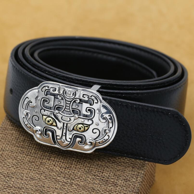 Sterling Silver S925 Retro Thai Silver Men's Belt Buckle Head Men's Domineering Belt Buckle Accessory For 3.8cm Belt