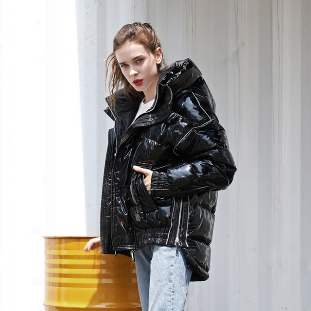 Fashion Laser Glossy Fabriiic Oversize Down Coat Winter Thicker Warm Hooded Duck Down Coat Female Fashion Down Outerwear F115