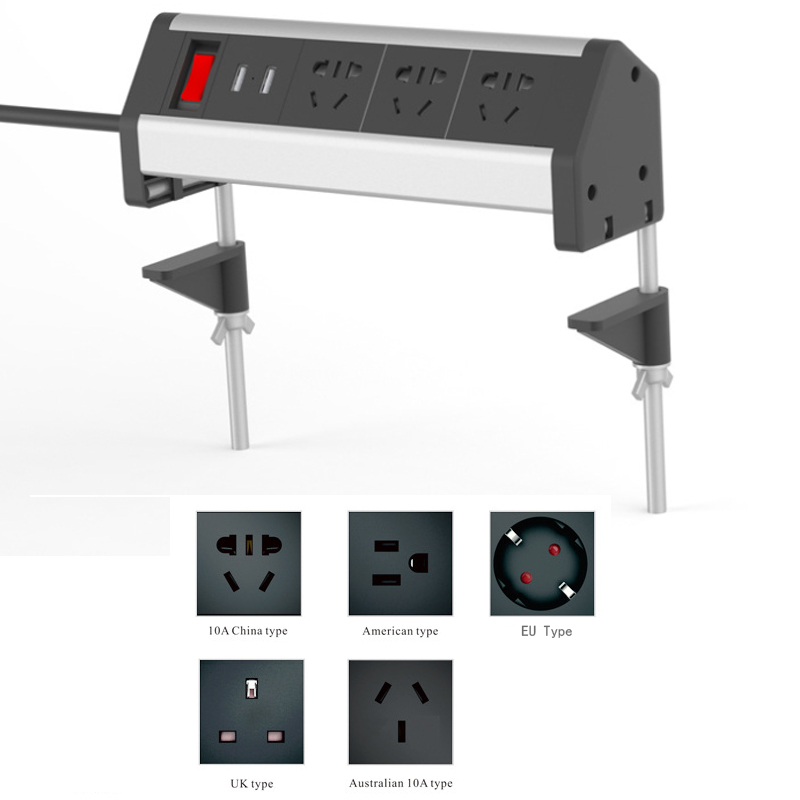 Table Clamp Socket Office Desktop Countertop Meeting Room Outlet Standard Power Socket EU UK AU US & 2 Usb Ports
