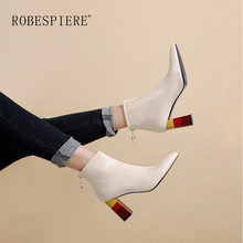 ROBESPIERE 2019 Hot Sale Ankle Boots Colorful Square Heel Quality Genuine Leather Zipper Women Shoes New Plus Size Lady B4