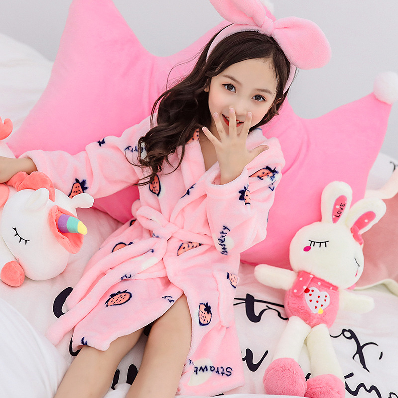 Bathrobe Kids Pajamas Sleepwear Hooded Flannel Girls Winter Boys Children Cartoon