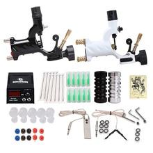 Kit de tatuaje para principiantes, 2 máquinas, juegos de máquinas rotativas, fuente de alimentación LCD, accesorios de agarres de agujas