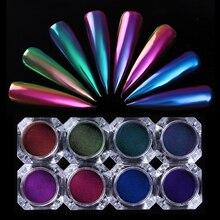 Nail Glitter Powder Chameleon Mirror Effect Beauty Design Nail Chrome Pigment Dust Nail Art DIY Decoration Black Base Need
