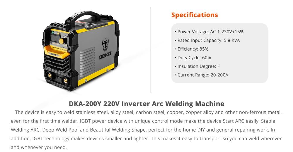 DEKO DKA-200Y 200A 4.1KVA инвертор дуговой Электрический сварочный аппарат 220V MMA сварочный аппарат для DIY сварочных работ и электрических работ