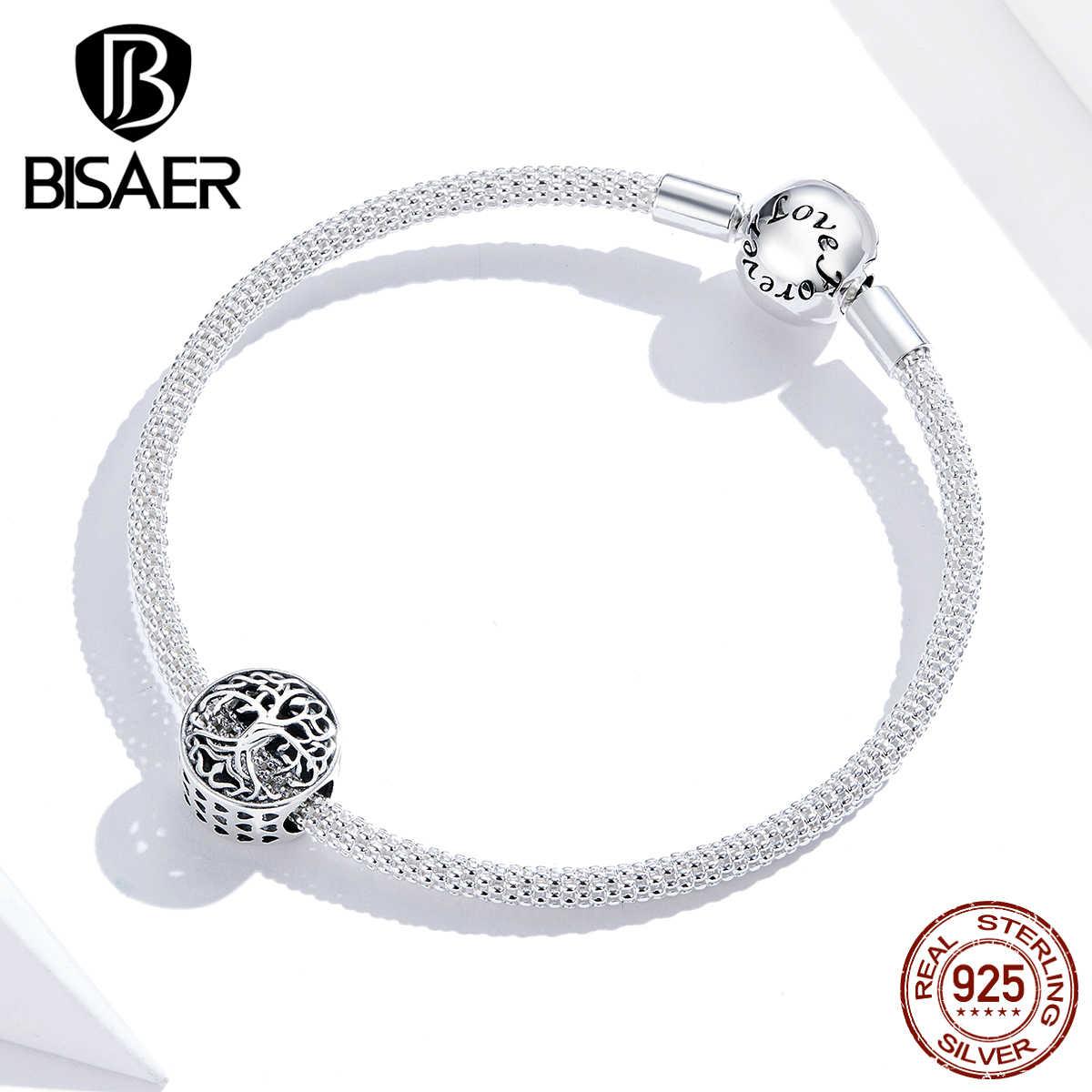 Bisaer família raízes contas 925 prata esterlina encantos árvore da família para pulseiras encantos originais para fazer jóias hsc1457