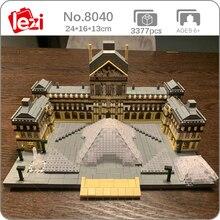 Lezi 8040 World Architecture Paris Louvre Museum 3D Model DIY Mini Diamond Blocks Bricks Building Toy for Children no Box