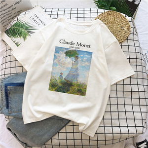 Claude Monet New Summer Female Art Large Size Loose Short Sleeve Casual Letter Printing Harajuku ins tops tees Vintage T-Shirt