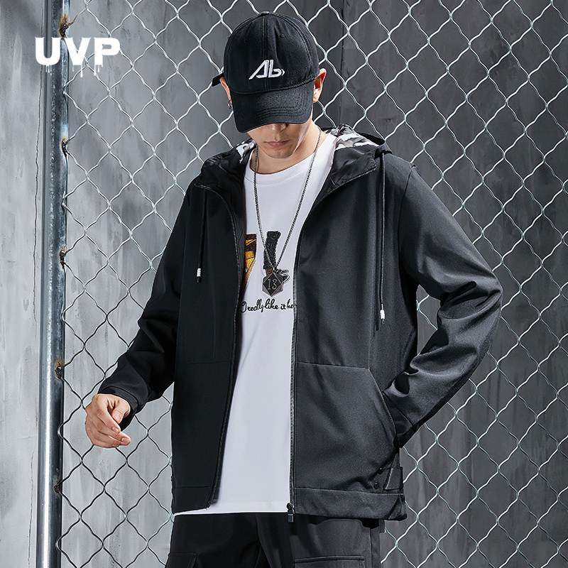 Hooded Track Jacket For Men Streetwear Casual Jacket Men's Clothing Front Pocket Black Jacket Clothes Male Tracksuit Bombre