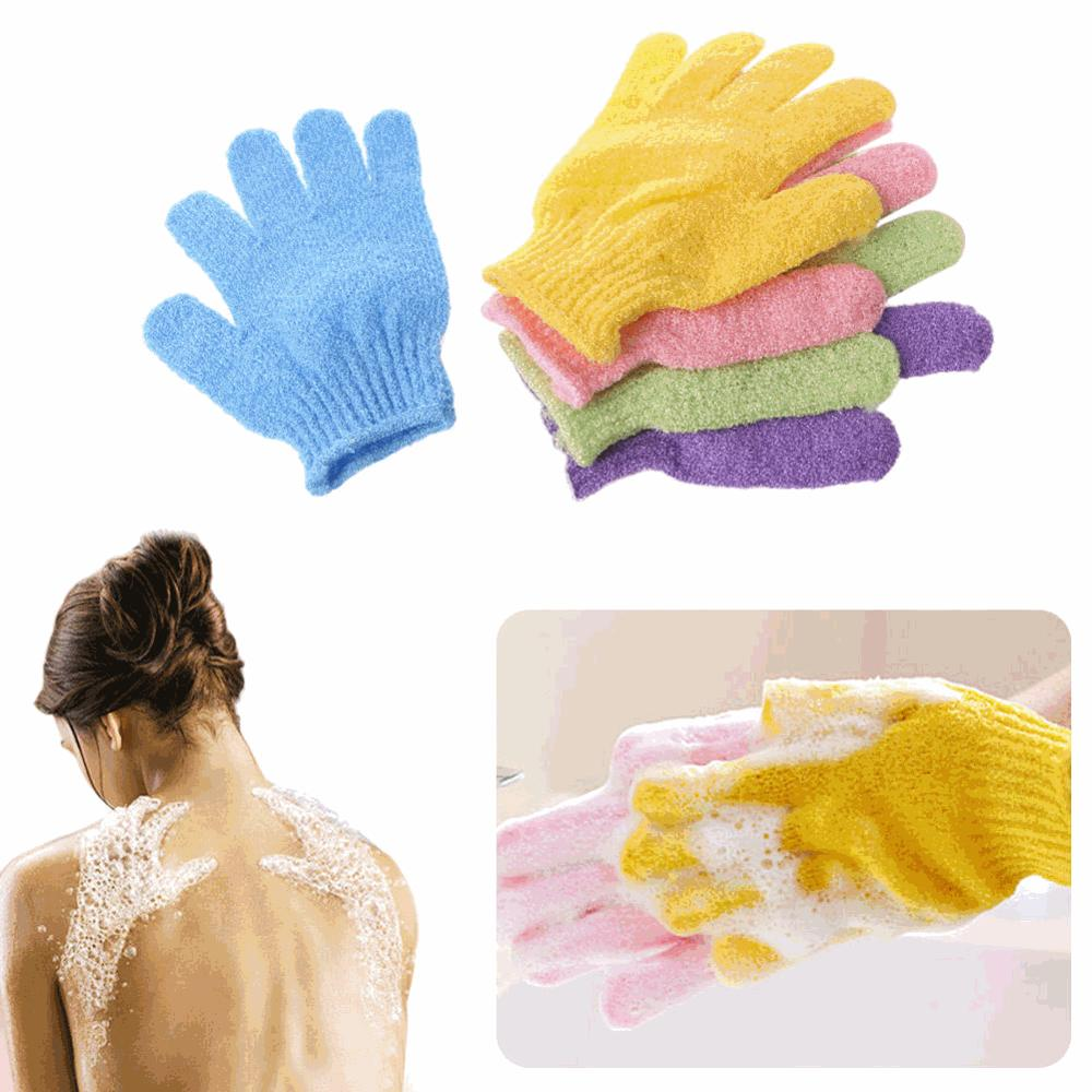 2 PCS Exfoliating Gloves Mitt Bath Shower Scrub Tan Dead Skin Removal Exfoliator Elastic Five-Finger Bath Gloves Random Color 1