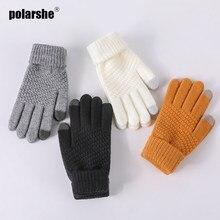 Зимние женские перчатки теплые мужские Новые однотонные плотные вязаные ветрозащитные перчатки с закрытыми пальцами для сенсорного экран...
