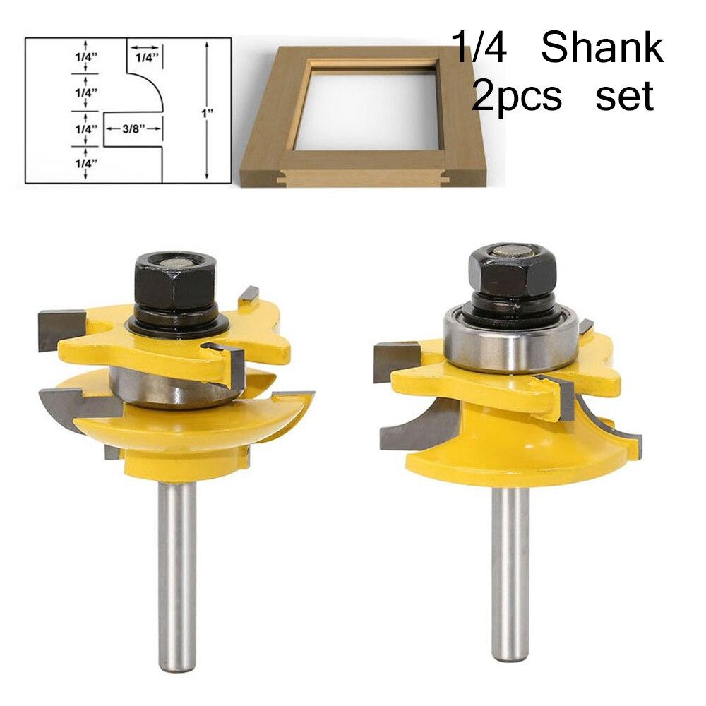 Фрезерный станок с хвостовиком 1/4 дюйма, комплект резцов и пазовых фрез для деревообработки, станков с ЧПУ, 2 шт.