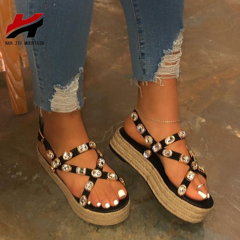 NAN JIU MOUNTAIN 2020 Platform Sandals Handmade Rhinestones Summer Open Toe Sandals Women Comfortable Plus Size 35-43