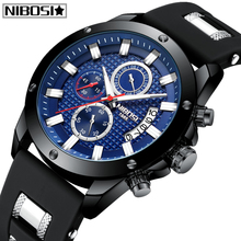цена на 2019 NIBOSI New Fashion Mens Watches Military Big Dial Sport Watches Luxury Top Brand Analog Quartz Watch Chronograph Men Watch