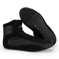 Professional Leather Men Wrestling Shoes Gym Weight Lifting High Top Boots Comfort Bodybuilding Boxing Weightlift Sneakers