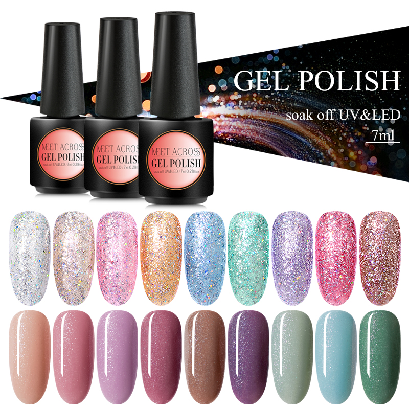 MEET ACROSS 8ml Sparkling Glitter Nail Gel Polish Shinning Sequins UV LED Painting Gel Lacquer For Manicure Nail Art Gel Varnish