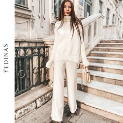 Yedinas Turtleneck Pullover Two Piece Set Top And Pants Tracksuit Women 2 Piece Set Women Warm Winter 2020 Knit Sweater Korean