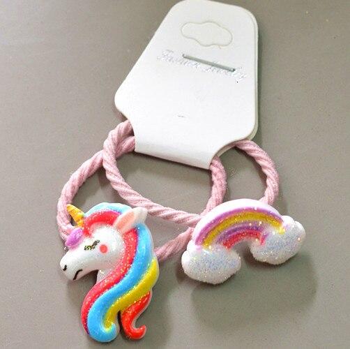 2PCS New Cute Cartoon Pony Rainbow Princess Headwear Kids Elastic Hair Bands Children Ropes Girls Accessories