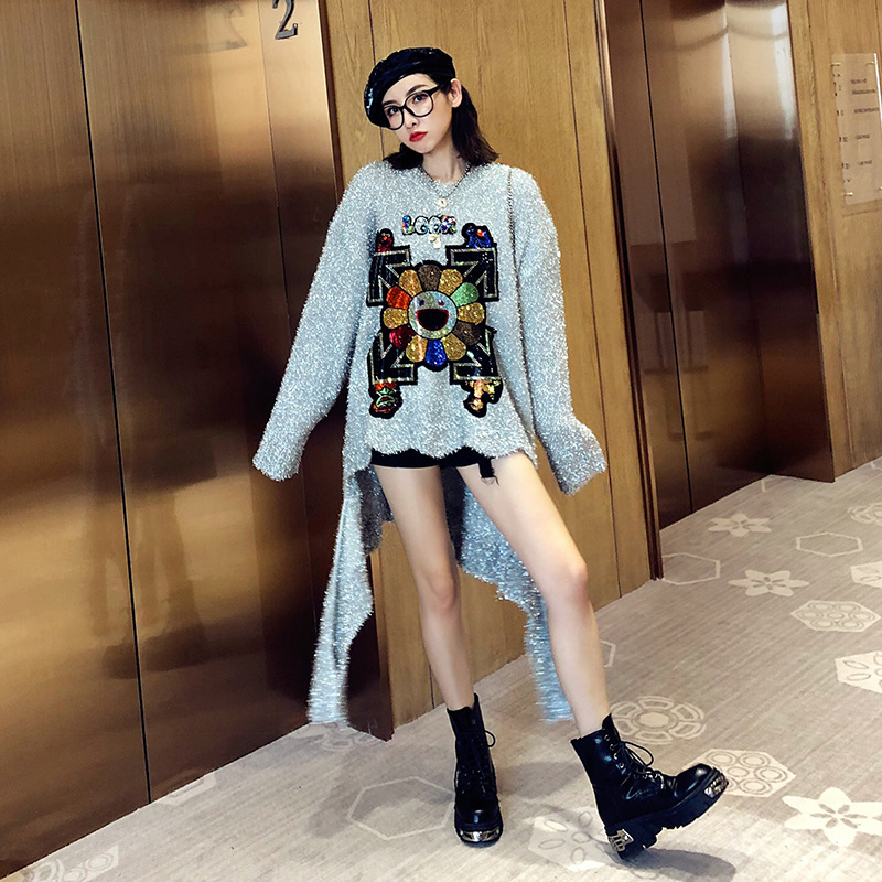 New Strange Now Dance Clothes 2019 Autumn And Winter New Cartoon Sequins Irregular Bright Silk Pullover Sweater Female Loose