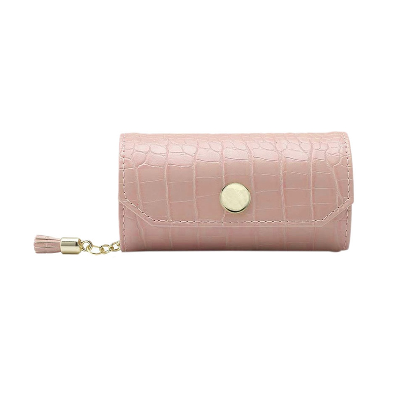 Travel Jewelry Organizer, Portable Leather Jewelry Roll For Travel, Mini Size & Light Weight Jewelry Storage Organizer Bag For D