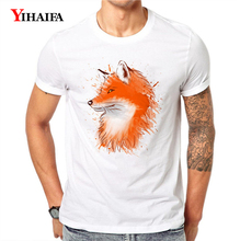 Men T-Shirt 3D Print Fox Animal Graffiti Graphic Tees Casual Summer Tee Shirts Short Sleeve Unisex White Hip Hop Tops