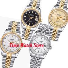 Parnis 36mm luxo 5atm ouro preto branco dial automático relógio masculino unisex safira vidro data lupa jubileu pulseira