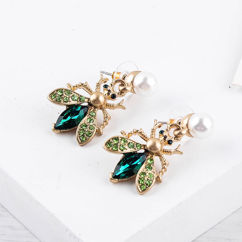 H6b05877f1ad64e89bf658c26c5729c274 - Bohemia Handmade Crystal 2 Color Insect Drop Earring For Women Wholesale Jewelry Free Shipping