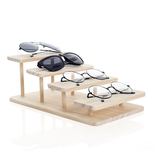 Rasalhaguer Assembleable Bamboo 4 Layers Options Sunglasses Stand Glasses Display Jewelry Holder Bracelet Watches Show Product