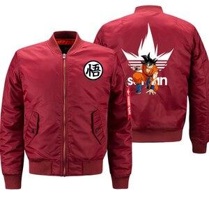 Image 4 - Dragon Ball Z Anime Saiyan Jacket Men Motorcycle Biker Thick Coat Autumn Winter 2019 Mens Bomber Jacket Military Jacket Plus 8XL