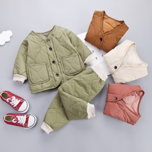 Kids Clothes 2019 Winter Baby Boys Girls Thicken Warm Cotton Outfit Toddler Coat Tops+ Pants 2Pcs Chilren Clothing Set baby girls clothing set hooded sweatshirt pants thicken warm fleece lining fashion baby girls boys clothing