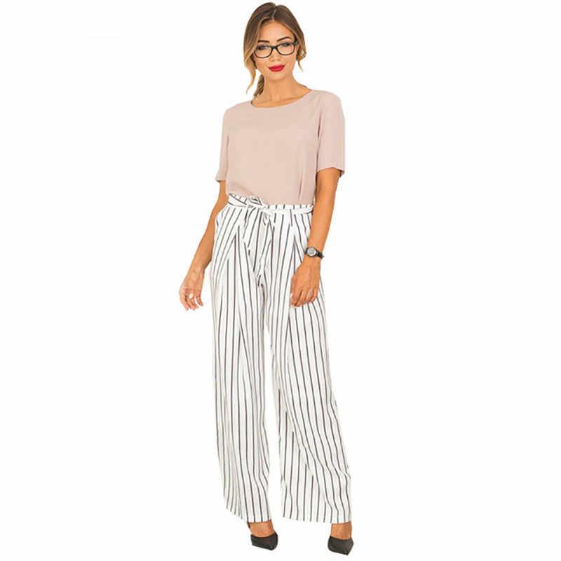 패션 여름 가을 여성 바지 가벼운 탄성 허리 스트 라이프 긴 바지 와이드 다리 새로운 뜨거운