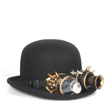 Черная шерстяная шляпа-котелок в стиле стимпанк, женская мужская фетровая шляпа, шляпа в стиле стимпанк с зубчатыми очками, верхняя шляпа, фетровая Шляпа Волшебника, шляпа для жениха