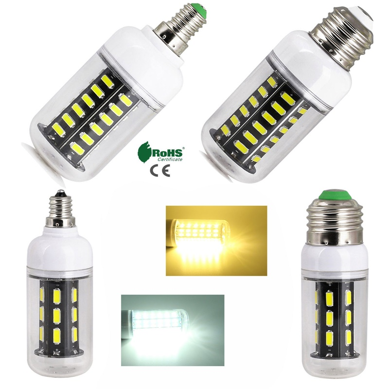 <font><b>LED</b></font> Corn Light Bulb E26 E27 E12 E14 12W 15W <font><b>24W</b></font> 7030 SMD <font><b>Lamp</b></font> 15 22 28 42LEDS Chandelier Clear Shell White Light For Home Decor image
