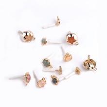 6p diy handmade jewelry accessories korea retro multi-color variety of mermaid tears five-pointed star earrings pendant material