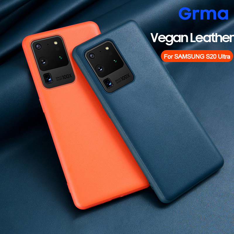 Original Genuine Leather Back Cover Silicone Case for Samsung Galaxy S20 Ultra S10 S9 S8 Note 8 9 10 Plus S10e Phone Case(China)