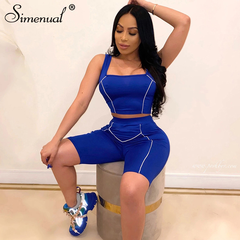 Simenual Casual Workout Active Wear Matching Set Women Sleeveless Fashion 2020 Two Piece Outfits Tank Top And Biker Shorts Sets