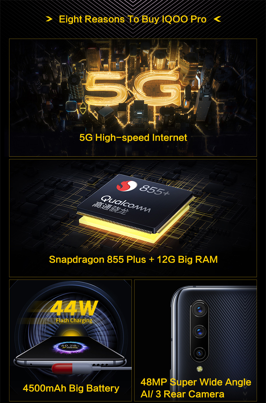 vivo iQOO Pro 5G Celular Mobile Phone Android 9.0 8G 256G Snapdragon 855 Plus 6.41'' NFC Super AMOLED 44W Fast Charge Smartphone