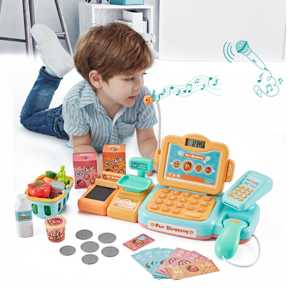 Supermarket Checkout Counter 24Pcs Foods Goods Simulation Toys Girls Shopping Toy Kids Pretend Play Shopping Cash Register Set