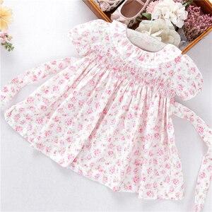 Летние платья для новорожденных девочек с цветочным узором, ручной работы, хлопковое детское платье с воротником «Питер Пэн», одежда для де...