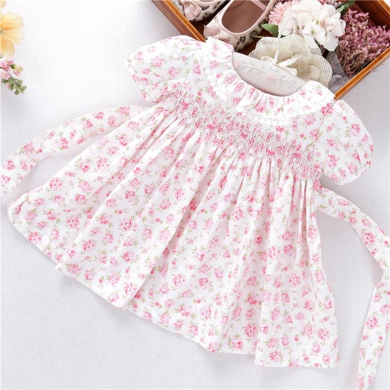 Summer Newborn Baby Girls Dresses Flower Smocked Hand Made Cotton Peter Pan Collar Kids Dress Children Clothing