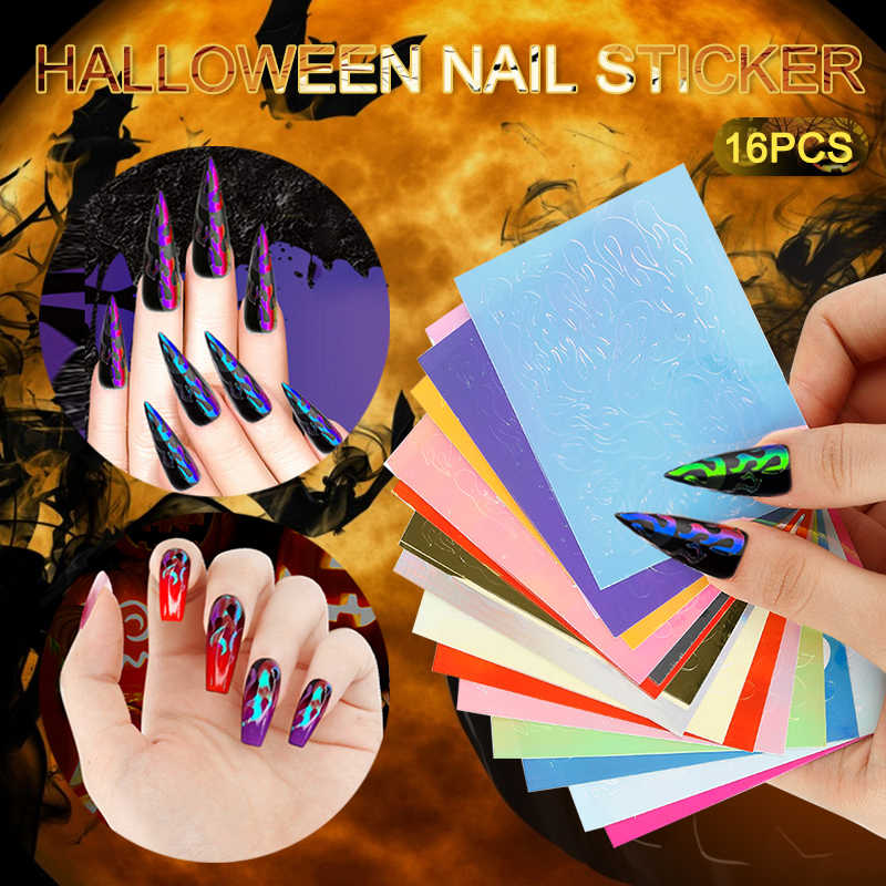 Halloween Fantasy 16PCS Fire Flame Nail Vinyls Stencil Hollow Stickers Fires on Manicure Stencil Stickers Flame Stencil Stickers