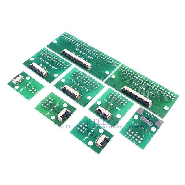 20pcs FPC FFC Cavo 0.5 millimetri Passo 4 6 8 10 12 14 16 20 24 30 40 50 60 PIN Connettore SMT Adattatore per 2.54 millimetri fori passanti DIP PCB