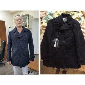 Image 2 - חורף עסקי צמר טור כפתורים כפול כותנה טפח מעיל מעיל להאריך ימים יותר לכייס להסרה Sobretudo Palto מקרית מעיל גברים