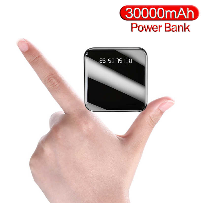 Snel Opladen Draagbare 30000Mah Mini Power Bank Spiegel Screen Digitale Disply Poverbank Externe Batterij Powerbank