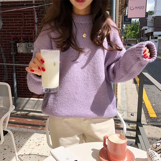 Ailegogo Women Autumn Winter O-neck Knitted Sweater Casual Loose Fit Knit Tops Female Korean Style Thick Outwear 2
