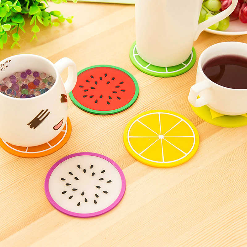 Modern Colorful Silicone Cup Drinks Holder Mat Fashion Fruit Shapes Coaster Tableware Placemat Coffee Pads Kitchen Accessories