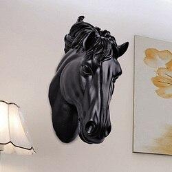 Cabeça de cavalos parede hangin 3d decorações animais arte escultura estatuetas resina artesanato casa sala estar decorações parede
