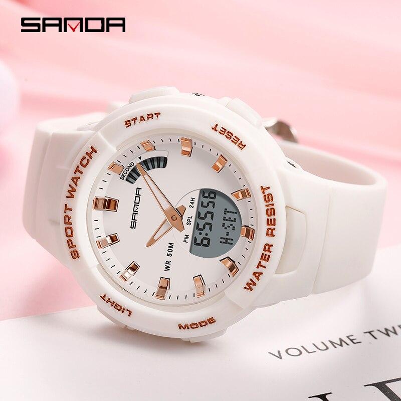 SANDA-montres pour hommes et femmes, montre de luxe, résistance, compte à rebours de Sport, étanche 50M, pour garçons et filles 3